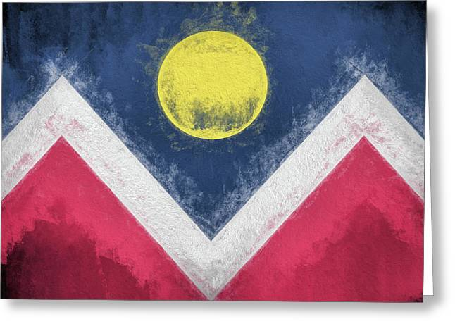 Greeting Card featuring the digital art Denver Colorado City Flag by JC Findley