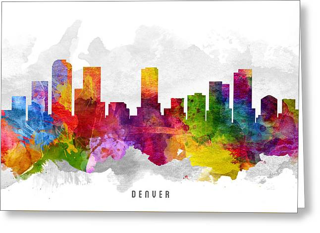 Denver Colorado Cityscape 13 Greeting Card by Aged Pixel