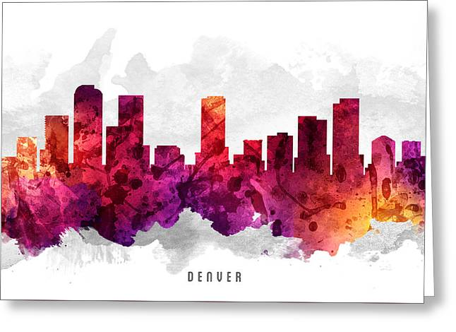 Denver Colorado Greeting Cards - Denver Colorado Cityscape 14 Greeting Card by Aged Pixel