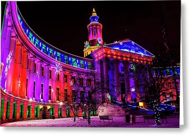 Denver Colorado Holiday Lights Greeting Card by Teri Virbickis