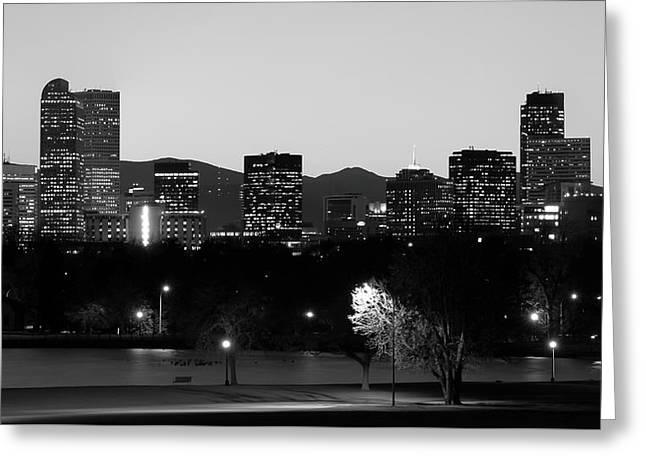 Greeting Card featuring the photograph Denver Colorado Mountain Skyline Black And White by Gregory Ballos