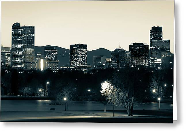 Greeting Card featuring the photograph Denver Colorado Mountain Skyline In Sepia by Gregory Ballos
