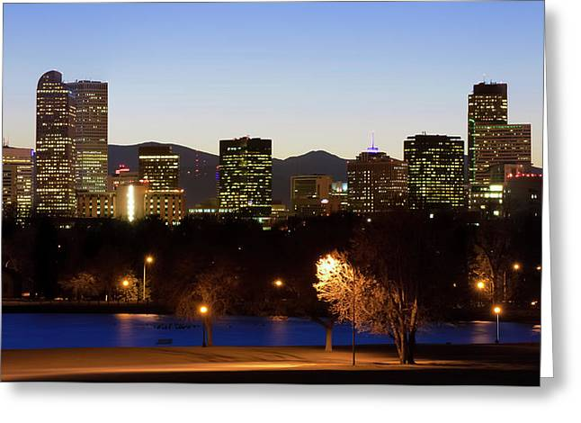 Greeting Card featuring the photograph Denver Colorado Skyline Blues by Gregory Ballos