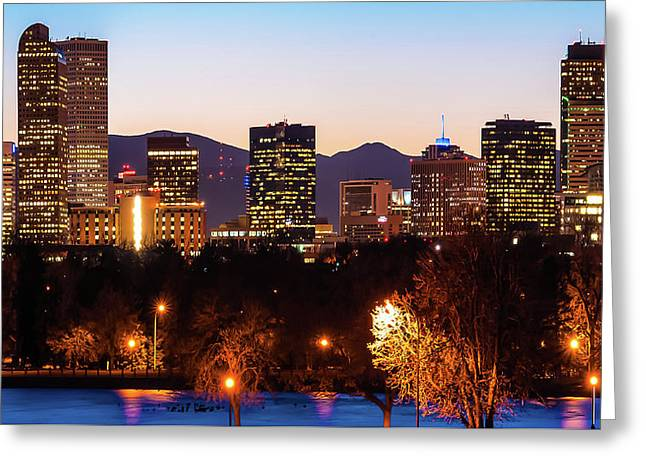 Denver Colorado Skyline Wide Angle Color Greeting Card by Gregory Ballos