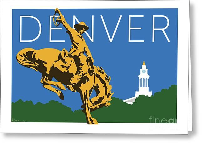 Denver Cowboy/dark Blue Greeting Card