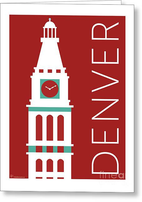 Greeting Card featuring the digital art Denver D And F Tower/maroon by Sam Brennan