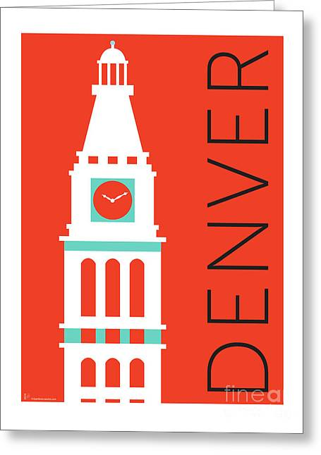 Greeting Card featuring the digital art Denver D And F Tower/orange by Sam Brennan