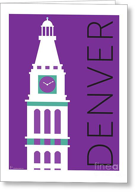 Greeting Card featuring the digital art Denver D And F Tower/purple by Sam Brennan