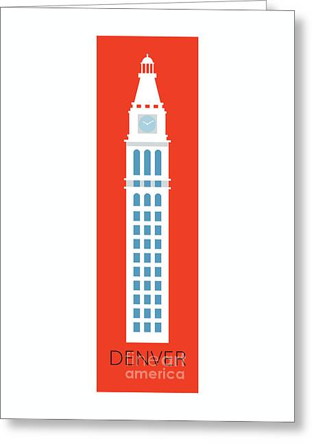 Greeting Card featuring the digital art Denver D And F Tower/tall by Sam Brennan