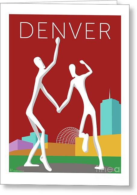 Greeting Card featuring the digital art Denver Dancers/maroon by Sam Brennan
