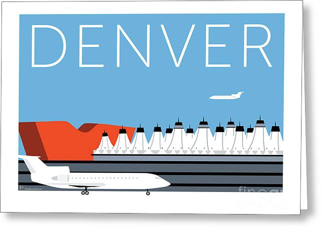 Greeting Card featuring the digital art Denver Dia/blue by Sam Brennan
