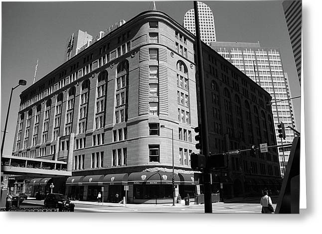 Denver Downtown Bw Greeting Card by Frank Romeo