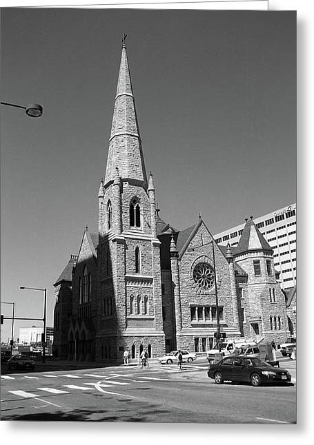 Denver Downtown Church Bw Greeting Card by Frank Romeo