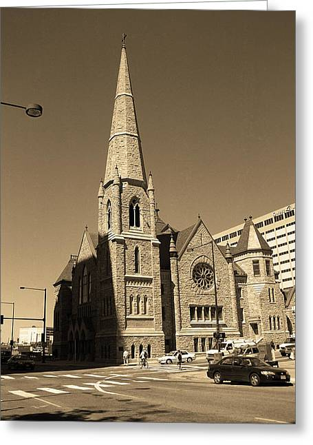 Greeting Card featuring the photograph Denver Downtown Church Sepia by Frank Romeo