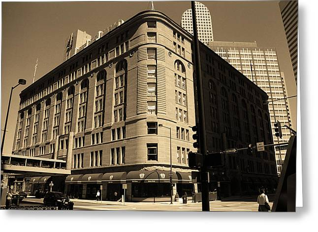 Greeting Card featuring the photograph Denver Downtown Sepia by Frank Romeo