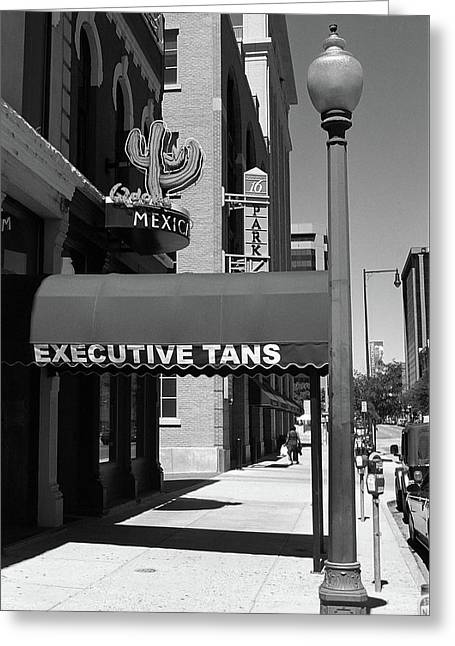 Denver Downtown Storefront Bw Greeting Card by Frank Romeo