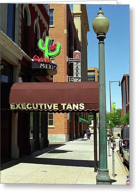 Greeting Card featuring the photograph Denver Downtown Storefront by Frank Romeo