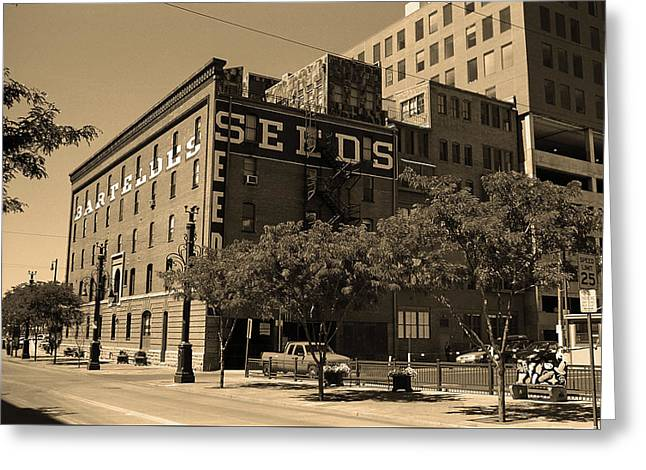 Greeting Card featuring the photograph Denver Downtown Warehouse Sepia by Frank Romeo