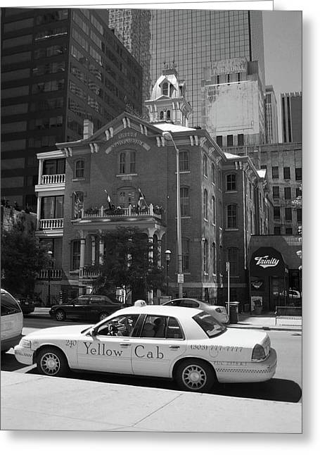 Denver Downtown With Yellow Cab Bw Greeting Card by Frank Romeo