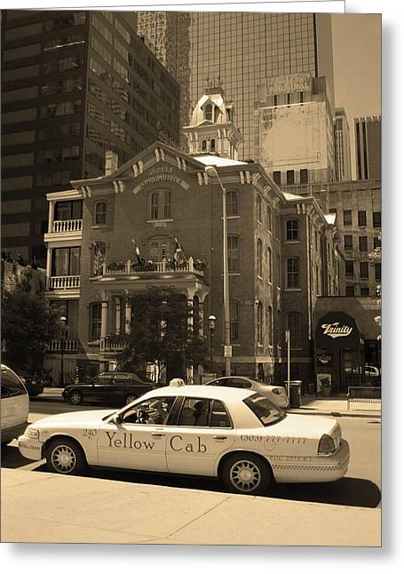 Greeting Card featuring the photograph Denver Downtown With Yellow Cab Sepia by Frank Romeo