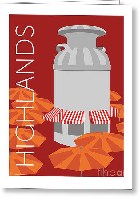 Greeting Card featuring the digital art Denver Highlands/maroon by Sam Brennan