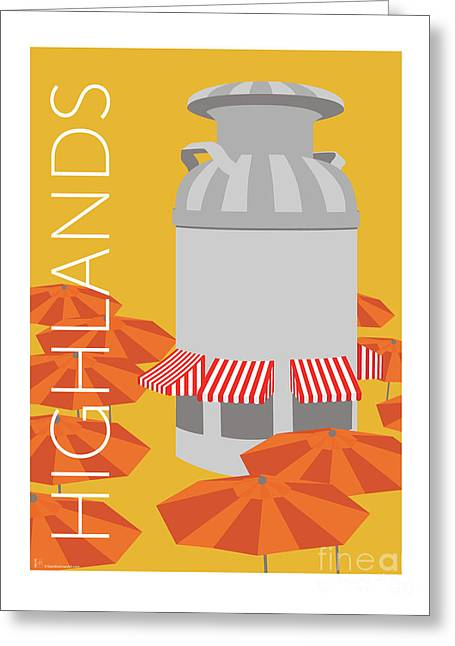 Greeting Card featuring the digital art Denver Highlands/gold by Sam Brennan