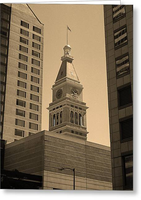 Denver - Historic D F Clocktower 2 Sepia Greeting Card