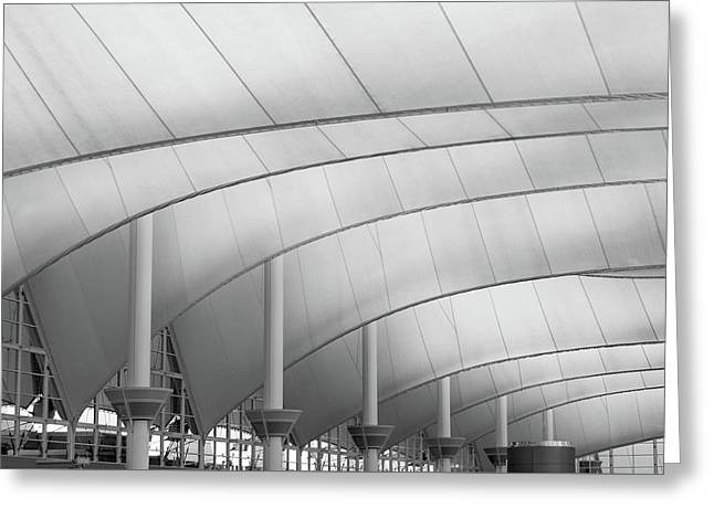 Denver International Airport Roof B W Greeting Card by Steve Gadomski