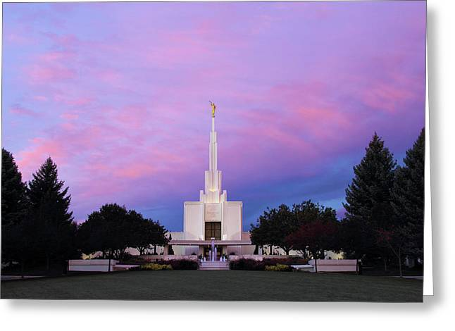 Denver Lds Temple At Sunrise Greeting Card