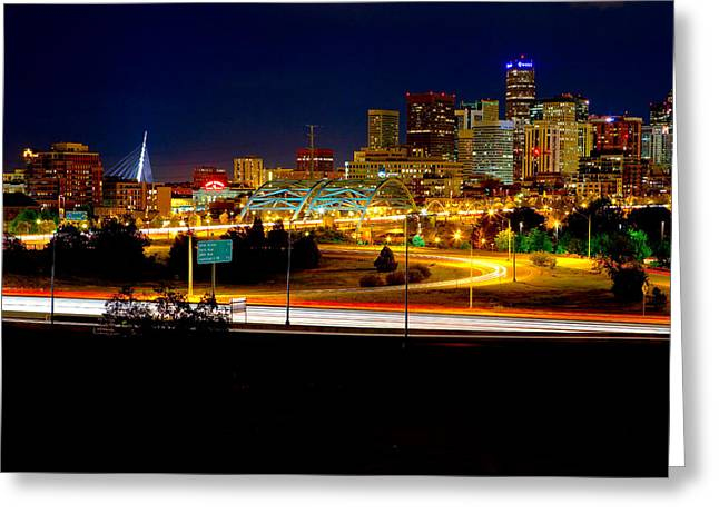 Denver Night Skyline Greeting Card by James O Thompson