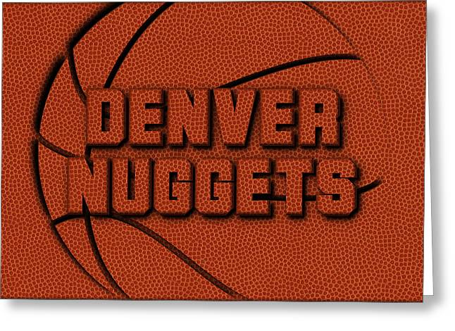 Denver Nuggets Leather Art Greeting Card by Joe Hamilton