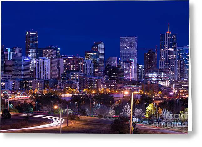 Denver Skyline At Night - Colorado Greeting Card by Gary Whitton