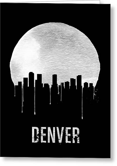Denver Skyline Black Greeting Card by Naxart Studio