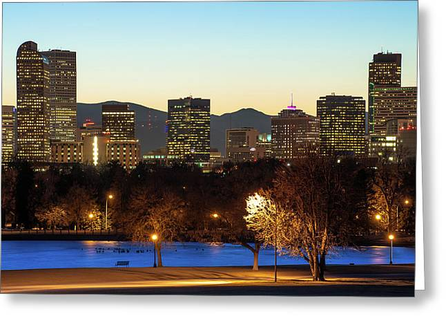 Denver Skyline - City Park View - Cool Blue Greeting Card by Gregory Ballos