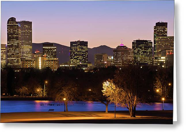 Denver Skyline - City Park View Greeting Card by Gregory Ballos