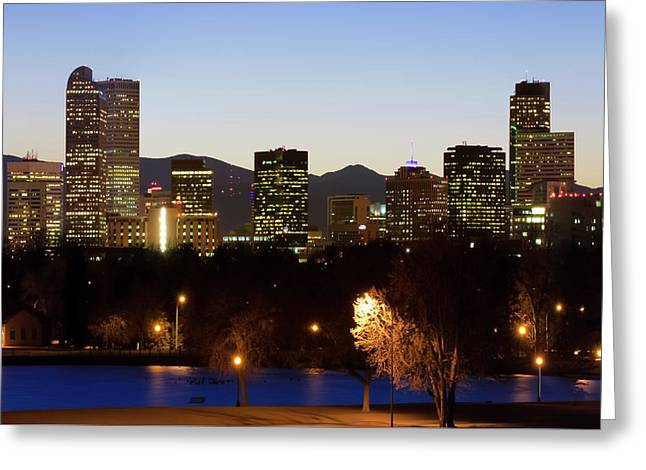 Greeting Card featuring the photograph Denver Skyline - Colorful Colorado by Gregory Ballos