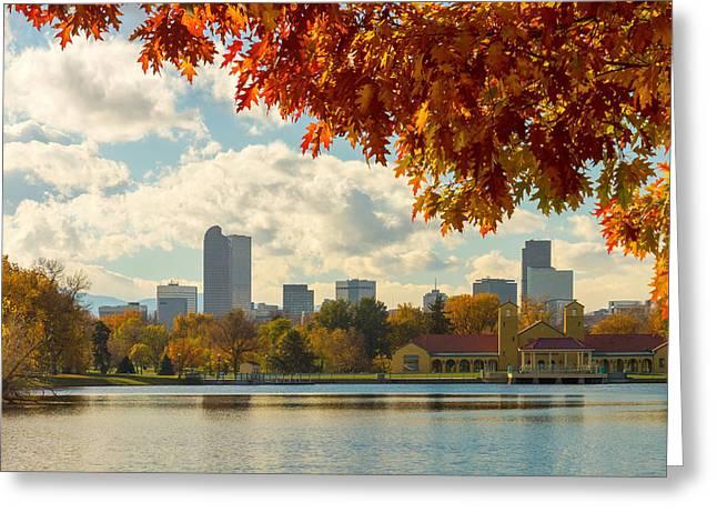 Denver Skyline Fall Foliage View Greeting Card