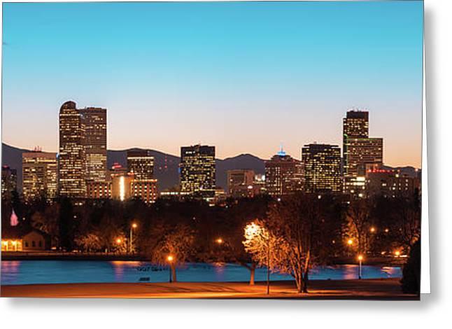 Denver Skyline Night Panorama - Colorado Photography 2 Greeting Card by Gregory Ballos