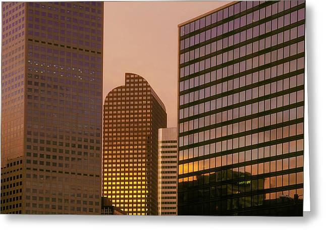 Denver Skyline Of Glass Greeting Card by Steve Mohlenkamp