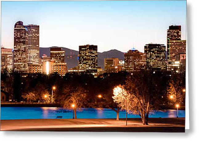 Denver Skyline Panorama City Park Greeting Card by Gregory Ballos