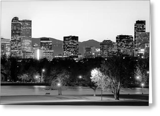 Denver Skyline Panorama From City Park Greeting Card by Gregory Ballos