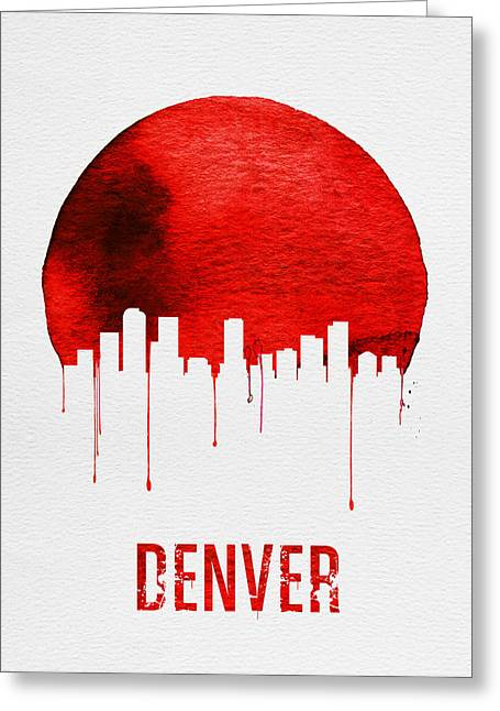 Denver Skyline Red Greeting Card by Naxart Studio