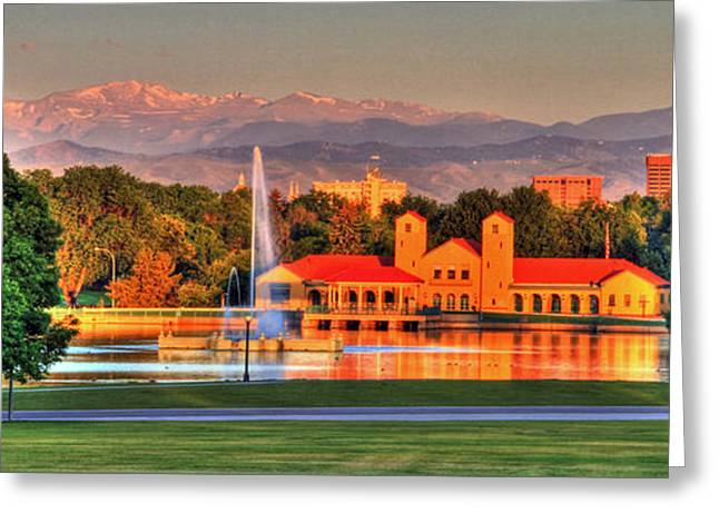 Denver Skyline Greeting Card by Scott Mahon