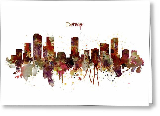 Denver Skyline Silhouette Greeting Card by Marian Voicu