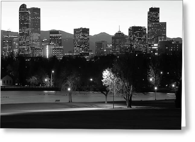 Greeting Card featuring the photograph Denver Skyline Square Format - Black And White by Gregory Ballos
