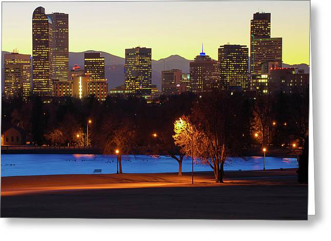 Greeting Card featuring the photograph Denver Skyline Square Format - Colorful by Gregory Ballos