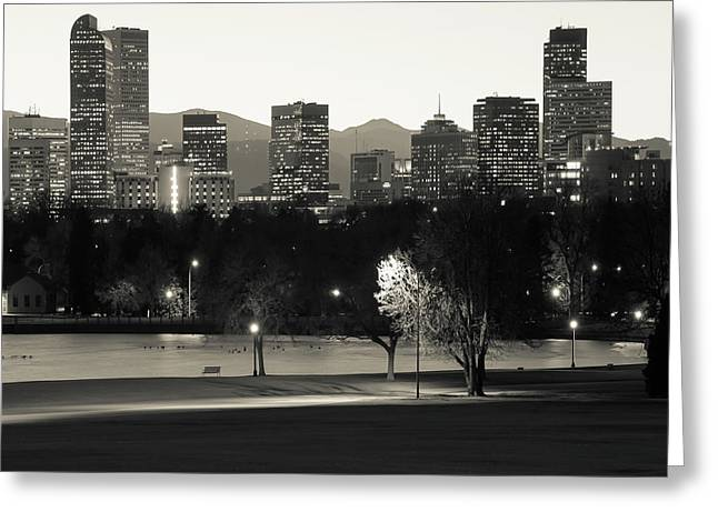 Greeting Card featuring the photograph Denver Skyline Square Format - Monochrome by Gregory Ballos