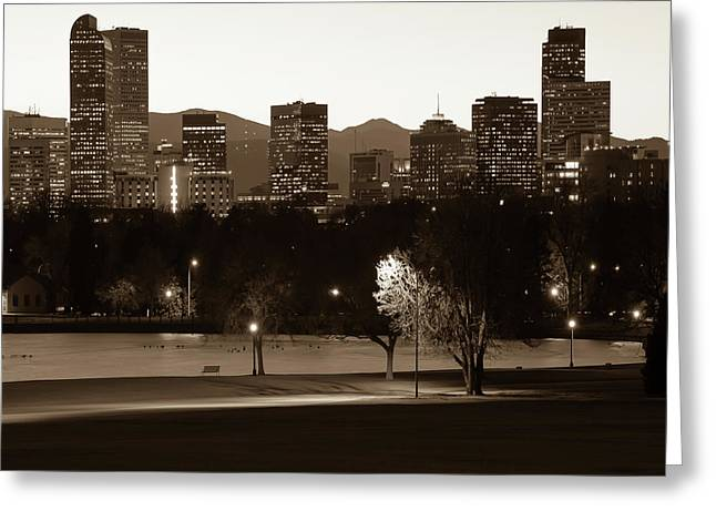 Greeting Card featuring the photograph Denver Skyline Square Format - Sepia by Gregory Ballos