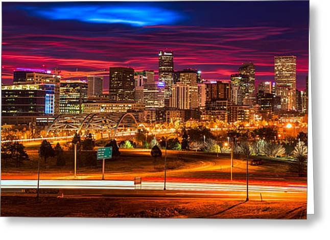 Denver Skyline Sunrise Greeting Card