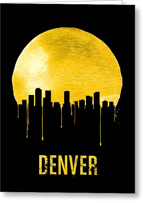 Denver Skyline Yellow Greeting Card by Naxart Studio